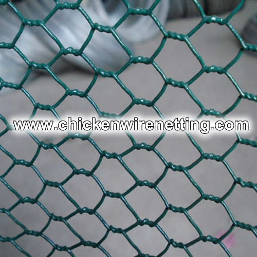 Green Pvc Coated Hexagonal Hole Chicken Wire